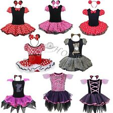Kids Girl Cat/Minnie Mouse Outfits Party Fancy Costume Dress + Headband Dancing