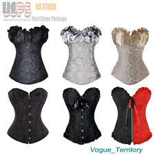 Basque Overbust Lace up Boned Corset Bustier Top Waist Training Cincher Shaper