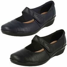 LADIES CLARKS VELCRO STRAP LEATHER MARY JANE CASUAL WEDGE SHOES EVERLAY KENNON