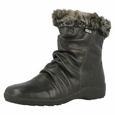 Ladies Remonte D0593 Black Leather All Weather Wool Lined Ankle Boots