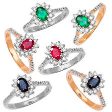 9ct Yellow or White Gold Emerald, Ruby or Sapphire Diamond Ring