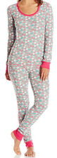 WOMENS NOVELTY PRINT GIRLS CHRISTMAS ROUND NECK WINTER THERMAL SET TOP & PAJAMAS