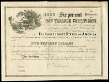 1864 $500 CSA CONFEDERATE STATES OF AMERICA NON TAXABLE CERTIFICATE