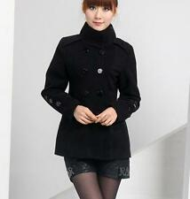 Fashion Lady Autumn Winter Stand Neck Double-breasted Slim Warm Jacket Coat C529
