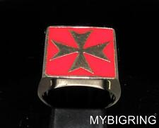 SQUARE BRONZE MEN'S SIGNET RING MALTESE CROSS MEDIEVAL KNIGHT RED ANY SIZE