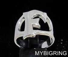STERLING SILVER MEN'S INITIAL RING ONE 1 BOLD CAPITAL BLOCK LETTER F ANY SIZE