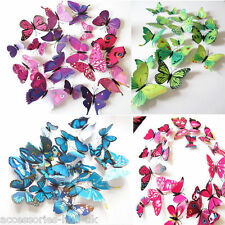 3D Butterfly Art Decal Home Decor PVC Butterflies Wall Mural Stickers 12 Pcs