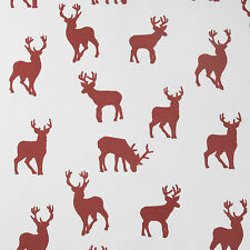Christmas White and Red Stags Tablecloth Xmas Oilcloth Wipeclean PVC Vinyl