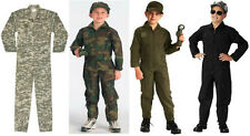 Kids Black Olive Drab ACU Digital Forest Camo Air Force Fighter Pilot Flightsuit