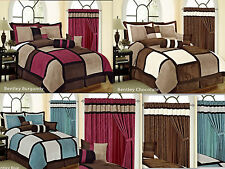 7PC Square Patchwork Micro Suede Soft Bed in a Bag Comforter Set / Curtain set