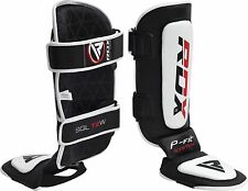 RDX Leather Gel Shin Instep Pads MMA UFC Leg Foot Guards Muay Thai Boxing Kick W