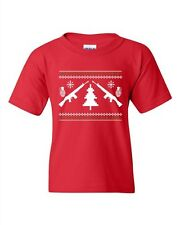 Guns Ugly Christmas Rifle Tree Grenade Funny Humor DT Youth Kids T-Shirt Tee