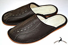 Mens Thick Genuine Leather Dark Brown Slippers Shoes Sandal Handmade Scuffs New