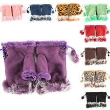 Womens Ladies Girls Faux Rabbit Fur Fingerless Gloves Hand Winter Mittens C51