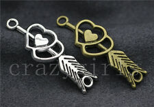 5/20/100pcs Tibetan Silver Double heart arrow Jewelry Charms Connector 39x13mm