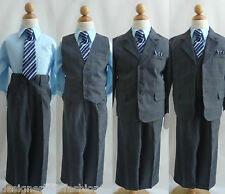 5pc set Boy Navy blue plaid formal suit pageant recital wedding party all size