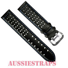 Leather Black Navy Blue Stitch Rally Racing Tropic Perforated Watch Strap Band