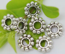 50/200/1000pcs Antique Silver Charms Spacer Beads Jewelry Charms Beads 6.5x2mm