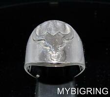ROUND STERLING SILVER ZODIAC RING STAR SIGN TAURUS SYMBOL HIGH POLISHED ANY SIZE