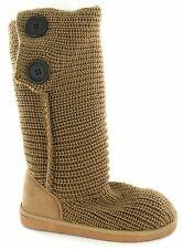 *SALE* Girls Tan Knitted Textile Pull On Winter Boots. Spot On H4021