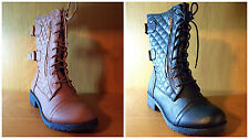 NEW Womens Fashion Combat Millitary Boots Lace Up Buckle and Quilted Side Boots