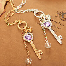 Trendy Women Gold Silver Love Heart Key Pendant Long Chain Necklace Jewelry New