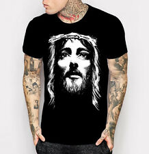 New Christian T-shirt Jesus Face Crown of Thrones Short Sleeve Tee Shirt M-2XL