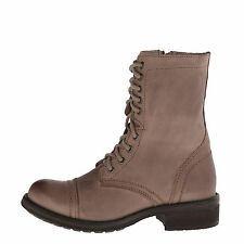 Steve Madden TROOPA 2-0 Stone Women's Leather Lace Up Combat Boots