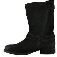 Steve Madden KAVILIER Black Women's Zip Up Leather Motorcycle Boot
