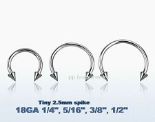 """2pc 18g~1/4""""- 1/2"""" with 2.5mm Spikes Steel Horseshoe Circular Labet Ear Tragus"""