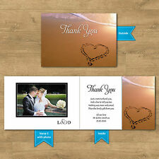 Double Sided & Folded Wedding Thank You Cards With & Without Photo Beach Heart