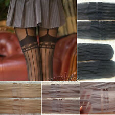 Sexy Tattoo Stocking BowKnot Garter Suspender Stripe Pantyhose Transparent Nude