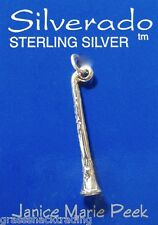 CLARINET MUSIC 3D Solid Sterling Silver Pendant - Charm w/ Options #1910