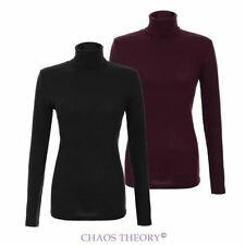 Womens Ladies Stretchy Knit Polo Turtle Neck Long Sleeve Jumper Knitted Pullover