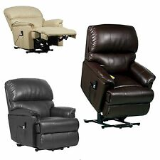 Canterbury dual motor leather electric rise and recliner chair + heat / massage