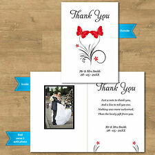Double Sided & Folded Butterfly Wedding Thank You Cards - With Or  Without Photo