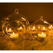Chic Clear Hanging Glass Candle Tealight Holder Candlestick Dinner Party Wedding