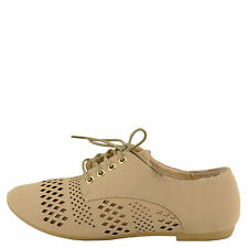 Bamboo Lynda 47A Nude Nubuck Women's Lace Up Perforated Oxford