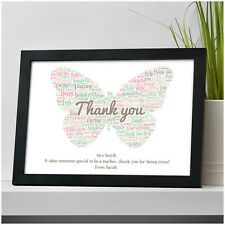 PERSONALISED Best Teacher Gifts - Thank You Teacher Gifts Presents Word Art