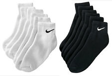 Nike SX5177 SX5178 6 pair 1/4 Quarter Crew Cotton Socks Black White L Men 8~10