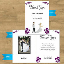 Double Sided & Folded Wedding Photo Thank You Cards - Runaway Bride - 12 Colours