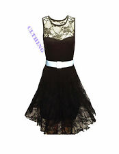 LADIES BLACK FLORAL LACE SKATER BELTED BODYCON NET FRILL MINI TU-TU DRESS TOP