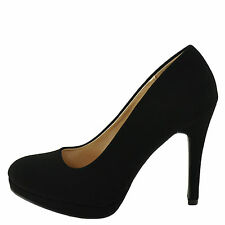 Qupid Waltz 01 Black Nubuck Women's Classic Round Toe Pump