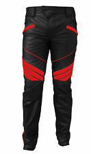 MENS SEXY REAL BLACK & RED LEATHER MOTORCYCLE BIKERS PANTS JEANS TROUSER - J5RED