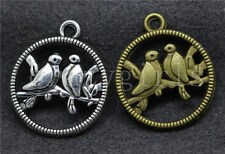 8/30/150pcs Tibetan Silver Beautiful two birds Jewelry Charms Pendant 23x20mm