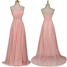 Strapless Long Evening Formal Party Cocktail Bridesmaid Prom Gown Wedding Dress