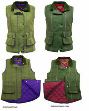 Ladies Womens Game Ruby Abby Tweed Gilet Quilted Body warmer Pink / Purple New