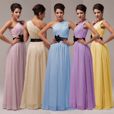 Sexy Long One Shoulder Chiffon Bridesmaid Dress Cocktail Party Prom Evening Gown