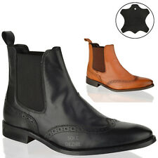 Mens Boys slip on chelsea leather brogue smart ankle office work  winter boots