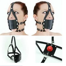 Adult Sex Head Hood Mouth Mask Cosplay SM Fetish Restraint Bondage Ball Gag S